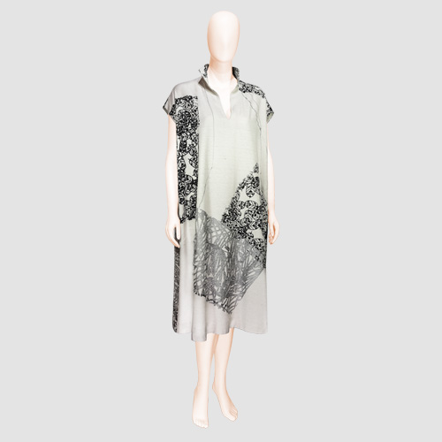 Stenciled Silk Dress by Bun Hirano