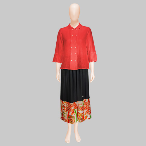 Cotton House Aya Blouse with Patch Magic Kimono Silk Skirt