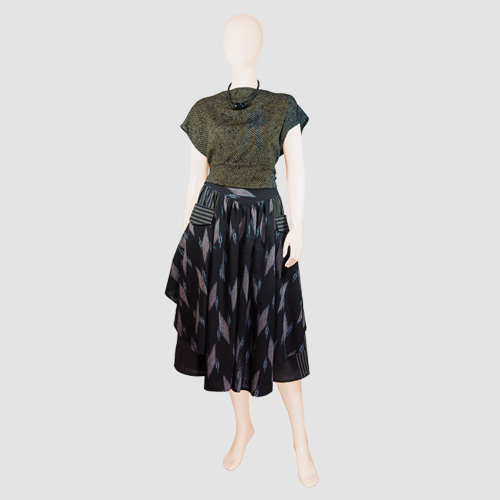 Silk Shibori Blouse with Ikat Skirt by Kofu