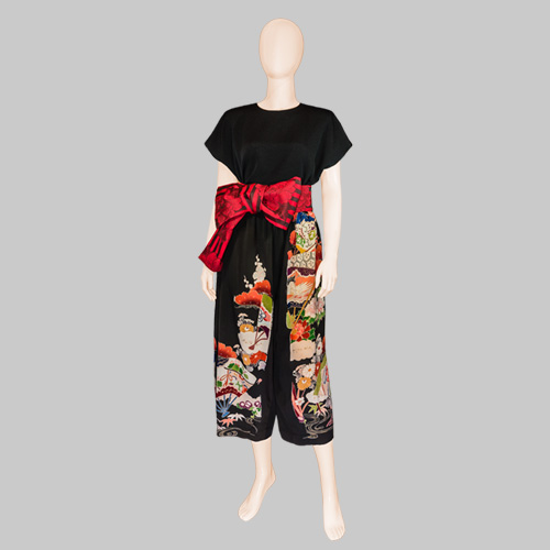 Kimono Silk Pants with Obi Belt by Patch Magic
