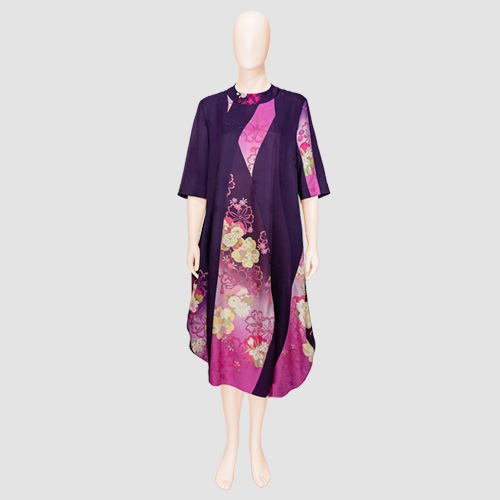 Patched Kimono Silk Dress by Patch Magic